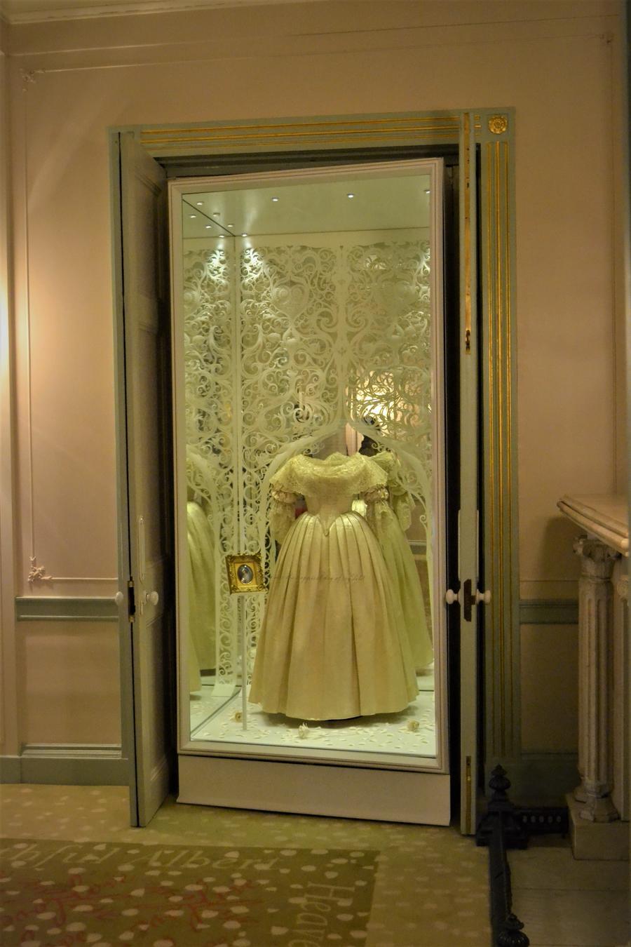 Museum display case in doorway