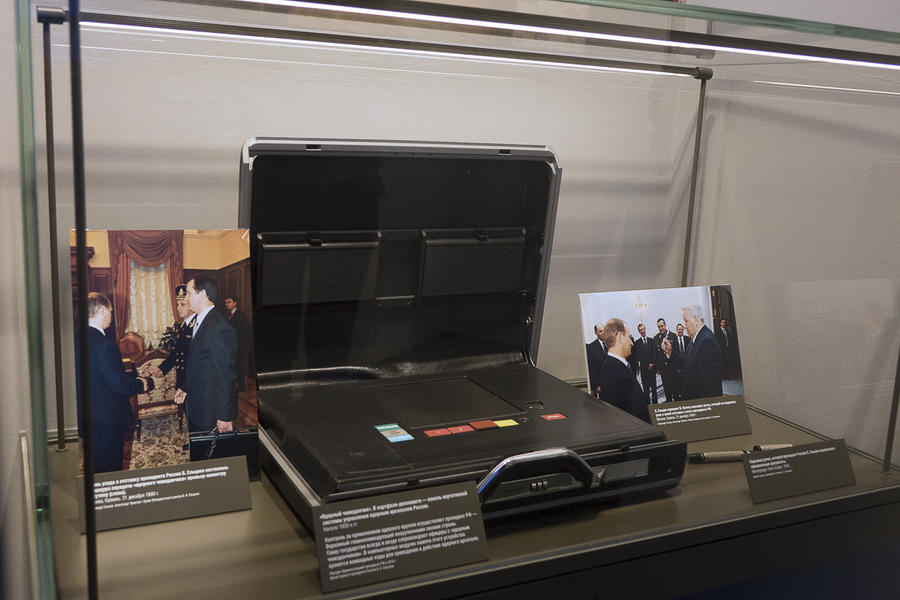 Museum case with briefcase with nuclear launch control system