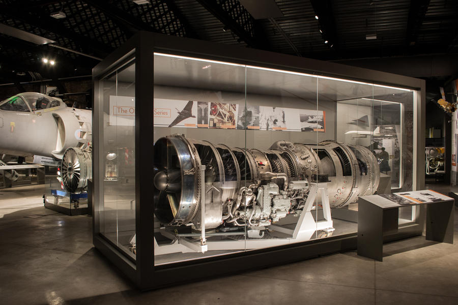 Concorde jet engine in a custom built free-standing showcase